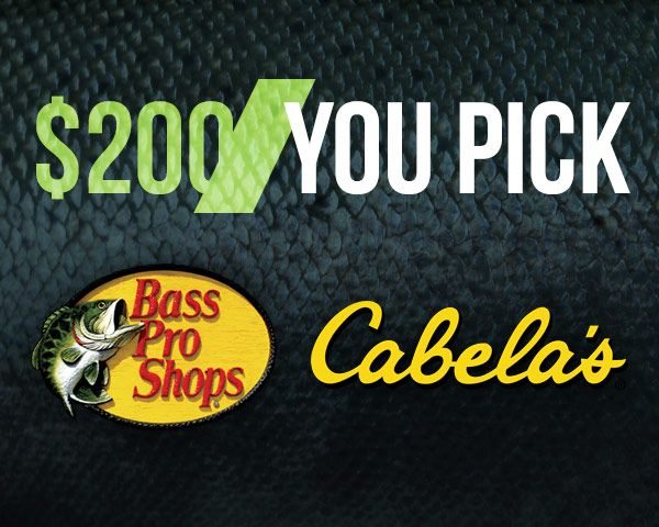 PrizeGrab - $200 Bass Pro or Cabela's Gift Card