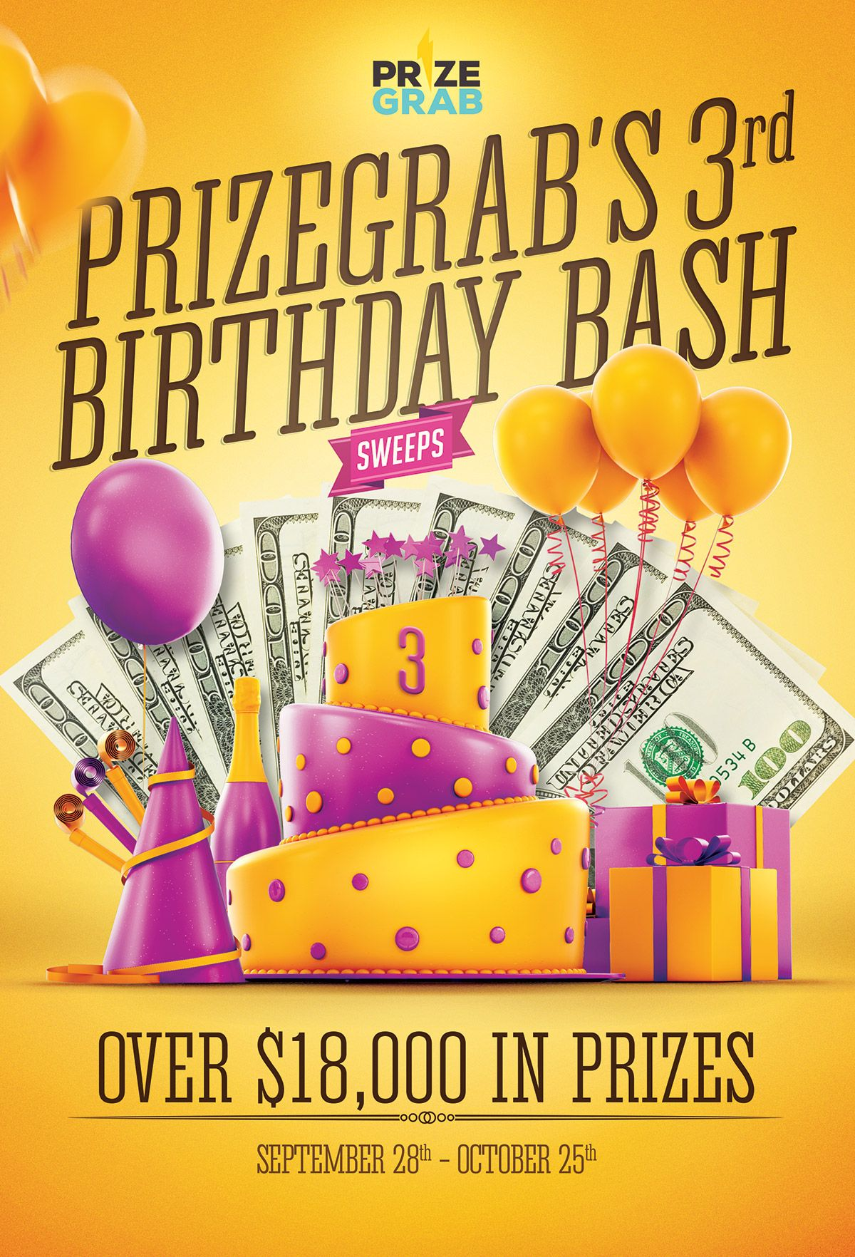 Win the PrizeGrab Birthday Sweepstakes & Giveaway